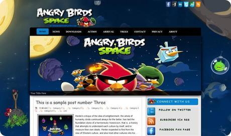 Download Scarica Gratis Angry Birds Space Template per Blogger