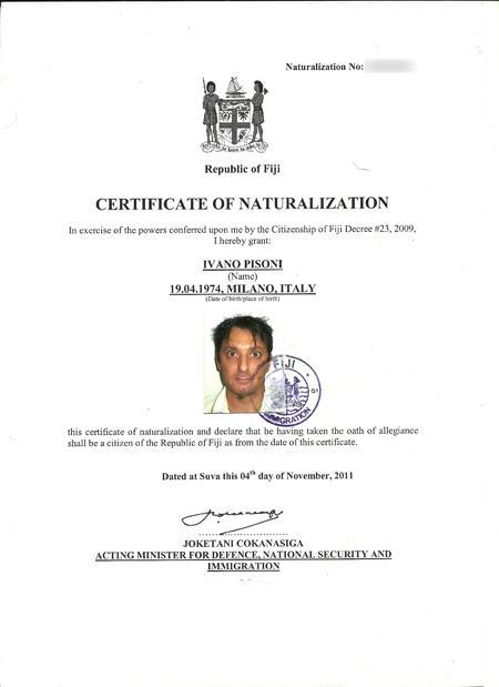 Certificato di cittadinanza (natiralizzazione) Fijiana