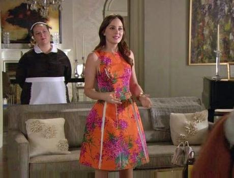 Leighton Meester indossa un mimosa dress Blumarine per Gossip Girl