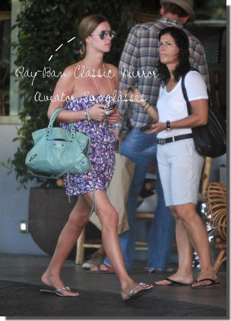 Nicky Hilton: summer look in october & Balenciaga City in baby blue