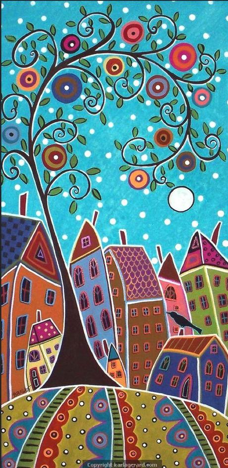 Patterns naif nei dipinti folk di karla gerard paperblog for Case pc colorati