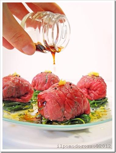 Beef carpaccio and agretti thai style