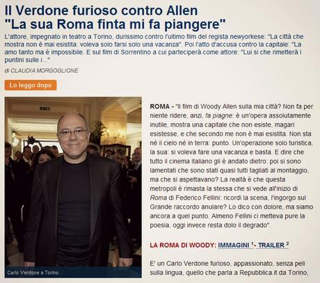 Carlo Verdone stronca Roma