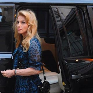 Madonna in Dolce & Gabbana in Leopard Blue Dress