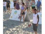 Sara Tommasi, Fabrizio Corona, Elisa Soardi Justine Mattera gara sulla spiaggia Riccione