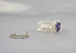 Wire wrapping: silver plated ring.