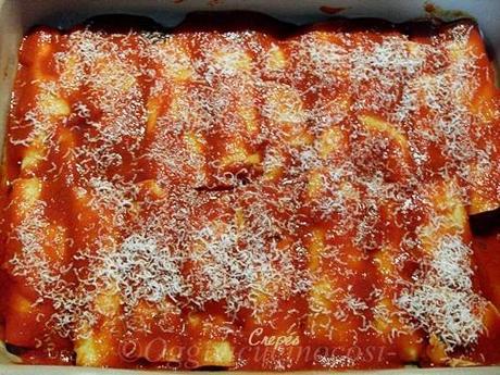 Cannelloni di crespelle con ricotta e spinaci al sugo di salsiccia