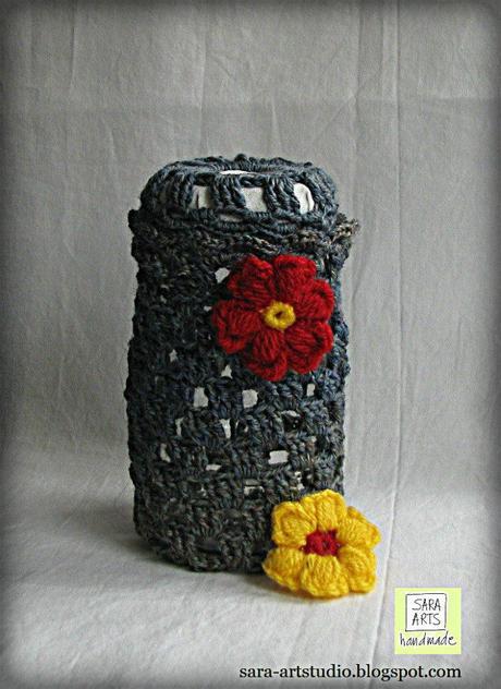 sara-artstudio.blogspot.com, vasetti di vetro riciclati e decorate by sara su c'è crisi, home décor