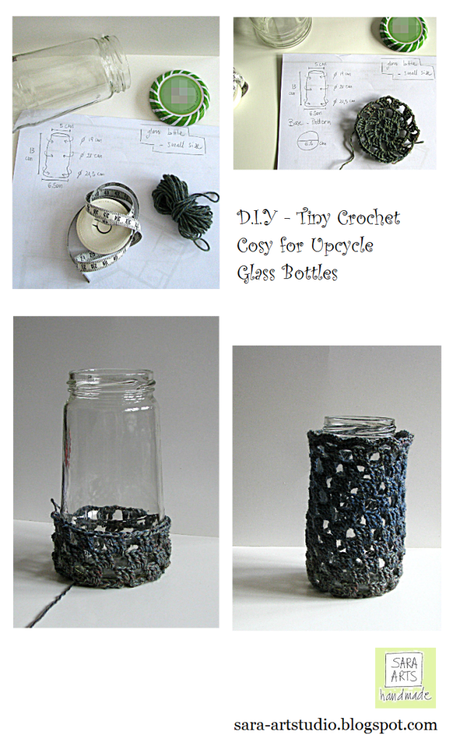 sara-artstudio.blogspot.com, home décor, come rivestire un barattolo di vetro con l'uncinetto