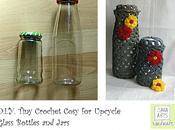 Tutorial Riuso Creativo: Come Decorare Bottiglie Barattoli Vetro Tecnica dell'Uncinetto -Designed Sara Arts-