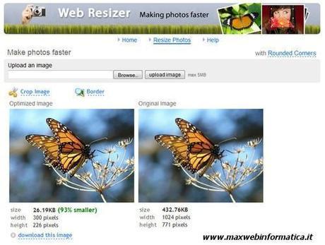 Ottimizzare le foto con Web Resizer