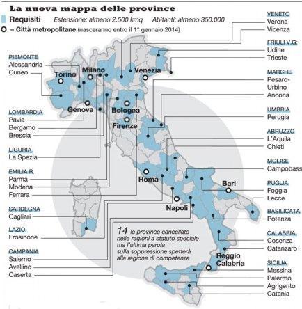 Cambia la mappa politica italiana: gli effetti di quel che sarà il taglio delle province