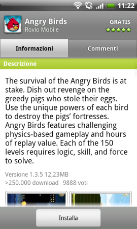 Angry Birds disponibile nel Market