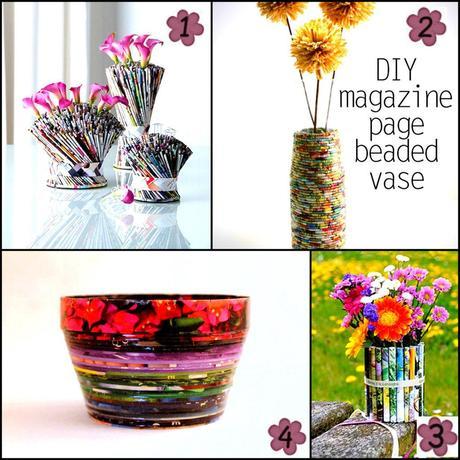 Come ti riciclo le riviste vasi da fiori e porta oggetti - Portavasi fai da te ...