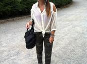 Camo pants open shoulder blouse