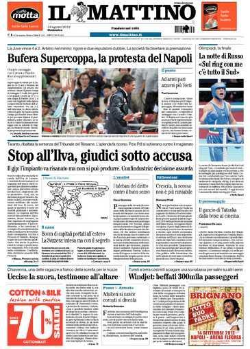 Prime pagine giornali: domenica 12 agosto 2012