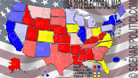 USA 2012: Obama 257, Romney 191, Toss-Up 90
