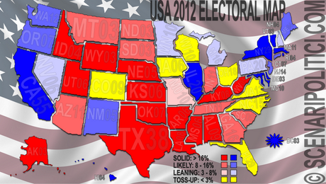 USA 2012: Obama 247, Romney 191, Toss-Up 100