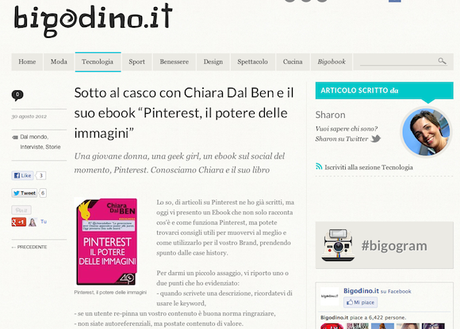[INTERVISTA] Su bigodino.it si parla del mio #ebook su #Pinterest