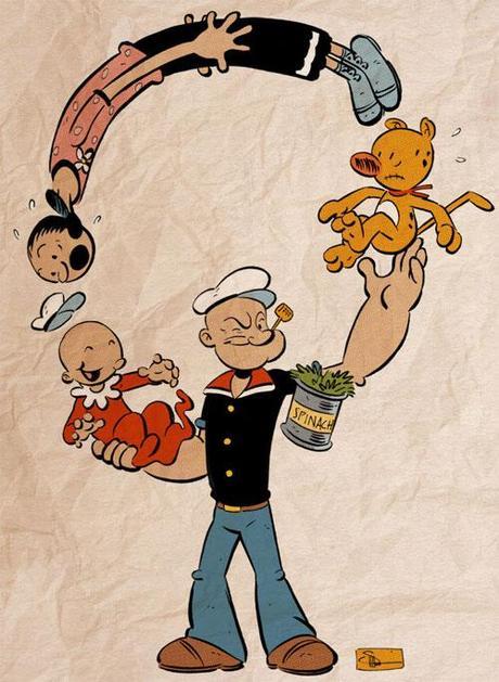 Popeye artwork illustrazioni di braccio ferro paper