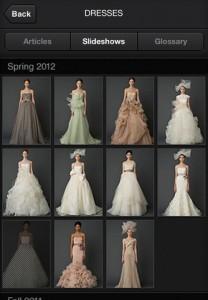 App Iphone Vera Wang - scelta del vestito da sposa
