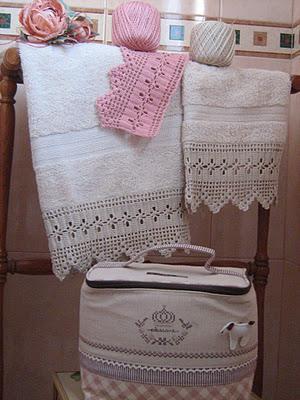 Asciugamani con bordure paperblog for Schemi bordi uncinetto per asciugamani