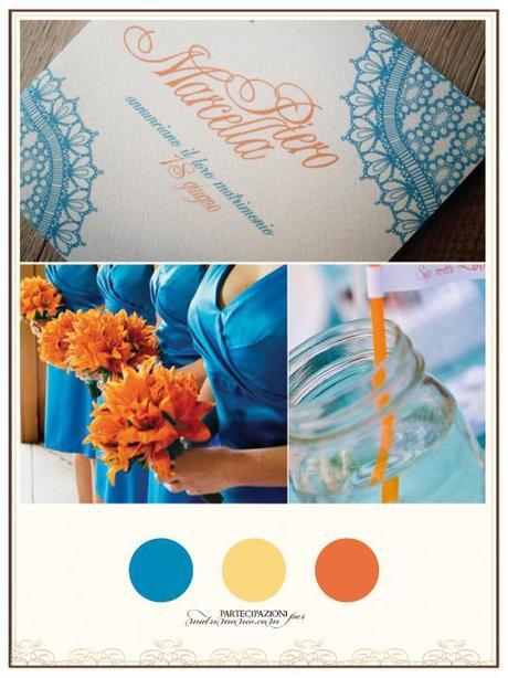 Partecipazioni Matrimonio Azzurro Polvere : Arancione e azzurro un ottima abbinata per delle