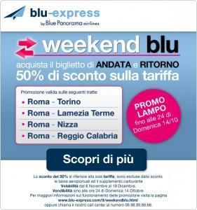Blu-express: weekend Blu, 50% di sconto sui voli!