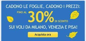 Air One: da/per Milano, Venezia o Pisa 30% di sconto