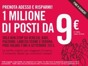 Volotea: 1milione di posti da 9€