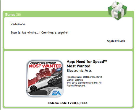 DAILY REDEEM CONTEST : All'interno troverete 3 CODICI REDEEM di NEED FOR SPEED MOST WANTED per iPhone e iPad