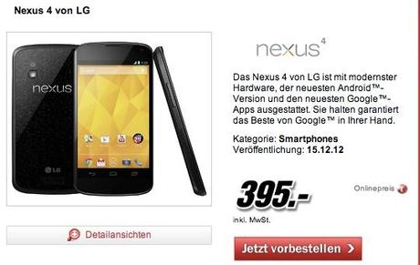 MediaMark Germania prezza il Nexus 4 a 395€
