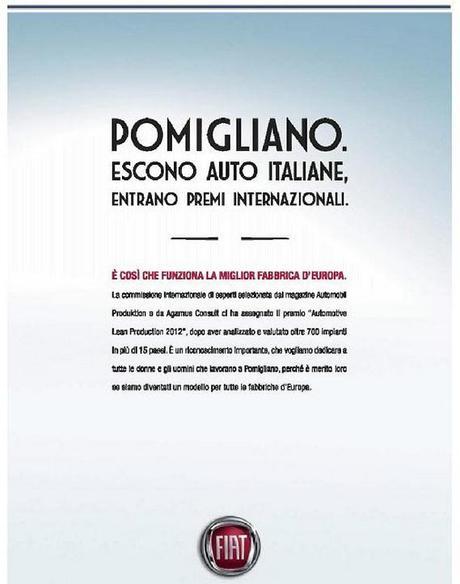 Fiat: lo stabilimento di Pomigliano premiato con Automotive Lean Production Award 2012