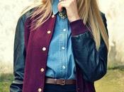 Varsity jacket, Denim shirt Vintage Backpack