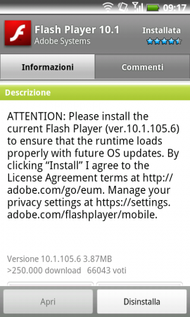 Anche il Flash Player per Android si prepara a Gingerbread! (10.1.105.6)