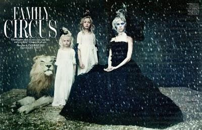 FAMILY CIRCUS... W Magazine December 2010 by Paolo Roversi with Arizona Muse, Lindsey Wixon, Britt Maren