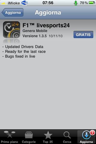 AppStore - F1 Livesports24 si aggiorna