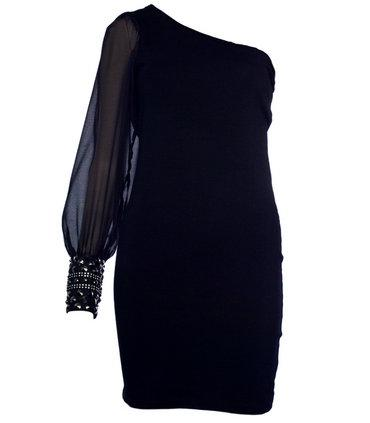 Black One Arm Dress with Embellished Cuff Preview