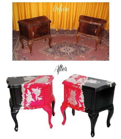 Restauro decorazione comodini barocco colorati before after paperblog - Mobili antichi colorati ...