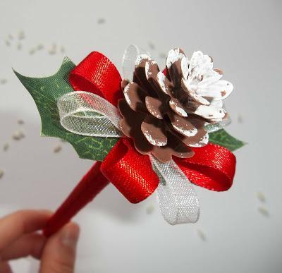 Matrimonio tema inverno guestbook o libro dediche rosso - Pigne decorate natalizie ...