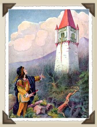 Un principe vede la principessa rinchiusa nella torre