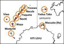 Distribuzione delle Crested Iguana nelle isole Fiji