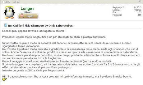 Opinioni Fisio Shampoo by Omia Laboratoires
