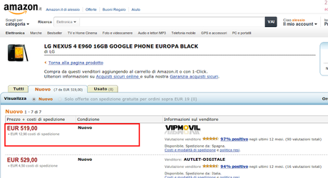 LG Nexus 4 arriva su Amazon Italia!
