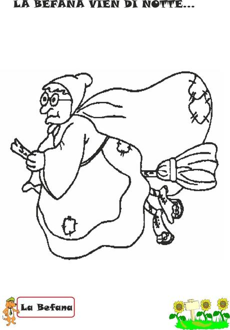 free coloring pages of la befana. Black Bedroom Furniture Sets. Home Design Ideas