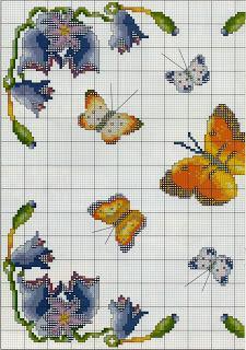 Schema punto croce un quadretto con le farfalle e con i for Punto croce fiori e farfalle