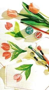 Fai da te pasquale la tavola dipinta e ricamata paperblog - Foglio colore coniglietto pasquale ...