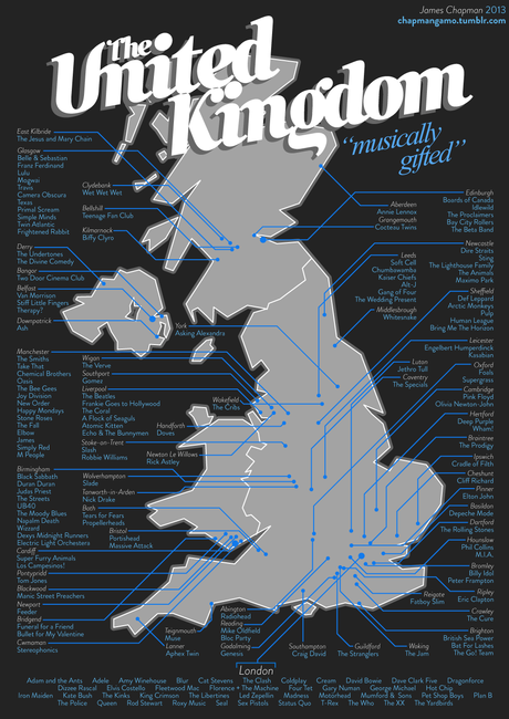 Map of UK music