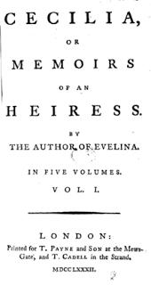 Alle origini di Pride and Prejudice: Cecilia, Memoirs of an heiress, di Frances
