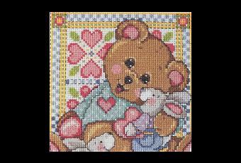 Schema punto croce un orsetto con gli amici paperblog for Schema punto croce orsetto